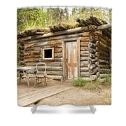 Old Traditional Log Cabin Rotting In Yukon Taiga Shower Curtain