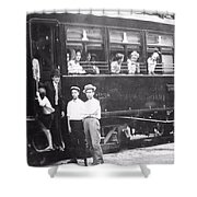 Old Train Station Black And White Shower Curtain