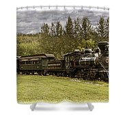 Old Train Steam Engine At The Fort Edmonton Park Shower Curtain