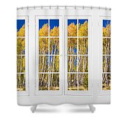Old Triple16 Pane White Window Colorful Autumn Aspen Forest View Shower Curtain
