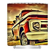 Old Truck Art Shower Curtain