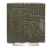 Old Truck In Sepia Shower Curtain