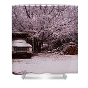 Old Truck In The Snow Shower Curtain