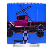 Old Truck With Cross Shower Curtain