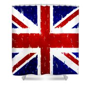 Old United Kingdom Flag Original Acrylic Palette Knife Painting Shower Curtain