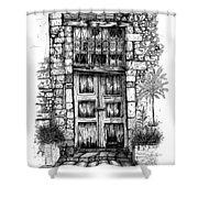 Old Venetian Door In Rethymno Shower Curtain