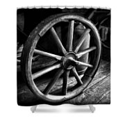 Old Wagon Wheel Black And White Shower Curtain