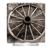 Old Wagon Wheel Shower Curtain