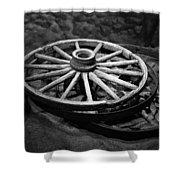 Old Wagon Wheels Shower Curtain