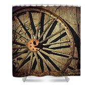 Old West Wagon Wheel Shower Curtain