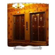Old Westinghouse Elevators At The Brown Palace Hotel In Denver Shower Curtain