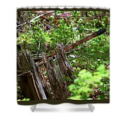 Old Wheelbarrow In The Weeds Shower Curtain