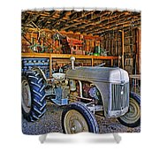 Old White Ford Tractor Shower Curtain