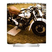 Old White Motorcycle Shower Curtain