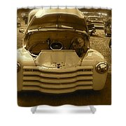 Old White Pickup Truck Shower Curtain