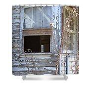 Old Windows Overlooking New World Shower Curtain