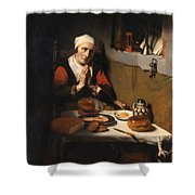 Old Woman At Prayer Shower Curtain