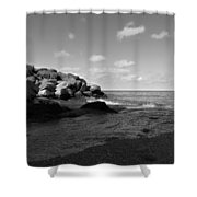 Old Woman Creek - Black And White 3 Shower Curtain