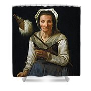 Old Woman Spinning, 1646-48 Shower Curtain