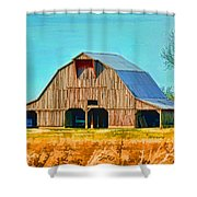 Old Wood Barn  Digital Paint Shower Curtain