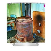 Old Wood Burning Stove  Shower Curtain