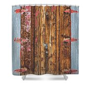 Old Wood Door With Six Red Hinges Shower Curtain