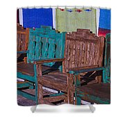 Old Wooden Benches Shower Curtain