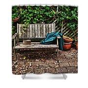 Old Wooden Garden Bench  Shower Curtain