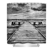 Old Wooden Jetty During Storm On The Sea Shower Curtain