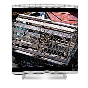 Old Wooden Lobster Pot Shower Curtain