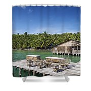 Old Wooden Pier Of Koh Rong Island In Cambodia Shower Curtain