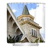 Old Wooden Victorian Chapel Church Steeple Fine Art Landscape Photography Print Shower Curtain