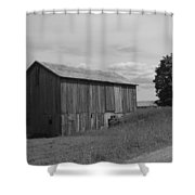 Olde Homestead - Olde Barn - Black And White Shower Curtain