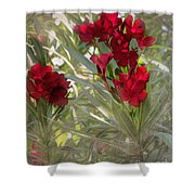 Oleander Blooms - A Touch Of Red Shower Curtain