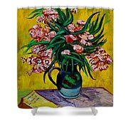 Oleanders Shower Curtain by Karon Melillo DeVega
