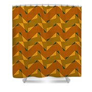 Olive Green And Orange Chevron Collage Shower Curtain