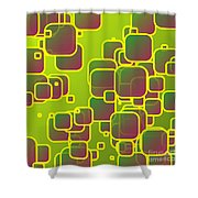 Olive Green Squares Shower Curtain