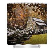Oliver's Log Cabin During Fall In The Great Smoky Mountains Shower Curtain