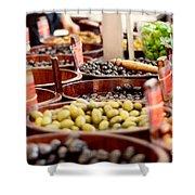Olives In Barrels Shower Curtain