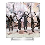 Olympic Wannabes Sculpture By Glenna Goodacre Near Infrared Shower Curtain