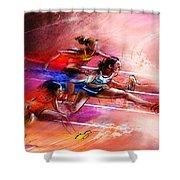 Olympics Heptathlon Hurdles 01 Shower Curtain