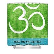 Om Asato Ma Sadgamaya Shower Curtain by Linda Woods