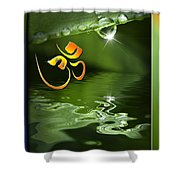 Om On Green With Dew Drop Shower Curtain