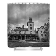Ominous Clouds At Batsto Village Bw Shower Curtain