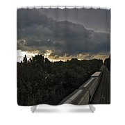 Ominous Skies Over Tracks Shower Curtain