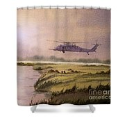 On A Mission - Hh60g Helicopter Shower Curtain