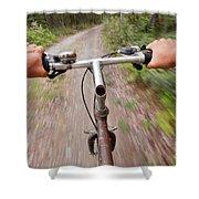 On My Mountain Bike Shower Curtain