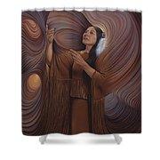 On Sacred Ground Series V Shower Curtain by Ricardo Chavez-Mendez