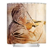 On Stage The Violinist Shower Curtain