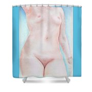On The Artists Pedestal A Statuesque Female Nude Torso With Open Sky Behind Shower Curtain